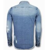 Enos Lange Spijkerblouse - Denim Overhemd Heren - Blauw