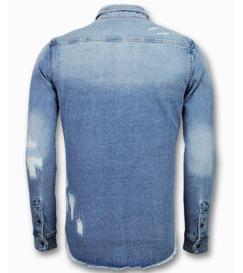 Heren Overhemd Met Drukknopen.Lange Spijkerblouse Denim Overhemd Heren Nieuw Styleitaly Nl