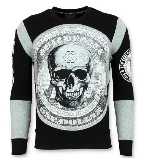 ENOS Rhinestone Trui Heren - Skull Dollar Sweater - Zwart