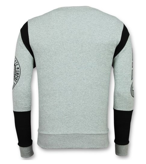 ENOS Rhinestone Trui Heren - Skull Dollar Sweater - Grijs