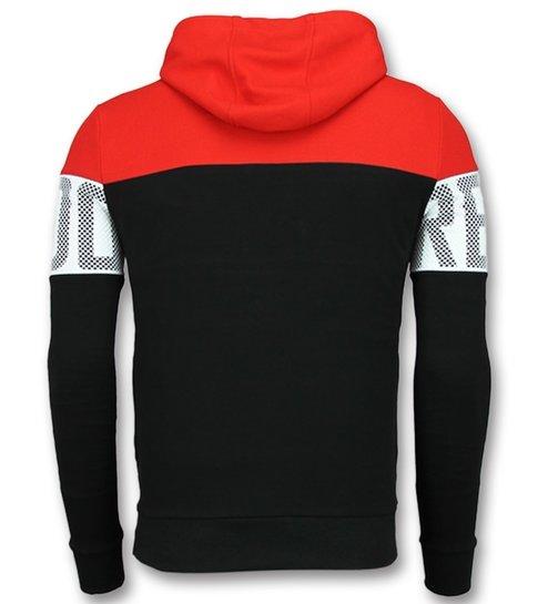 Enos Striped Hooded Sweatshirt - Hoodie met Capuchon - Rood