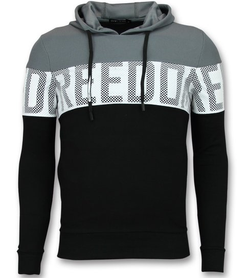 Enos Striped Hooded Sweatshirt - Hoodies Heren Zwart - Grijs
