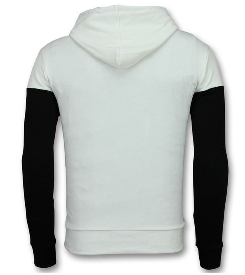 Enos Hoodie Heren Slim Fit - Striped Sweater Black and White - Zwart