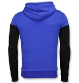 Enos Hoodie Heren Slim Fit - Striped Hooded Crewneck - Blauw