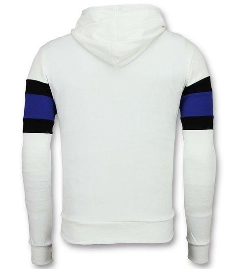 Enos Sweater met Capuchon Heren - Striped Hoodie - Wit