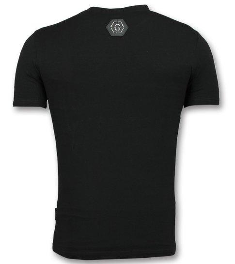 Golden Gate T-shirt met Schedel - T-shirt Korte Mouw Heren - Zwart