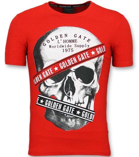 ENOS Rode T shirts  Mannen Slim Fit - Shirt met Glitter