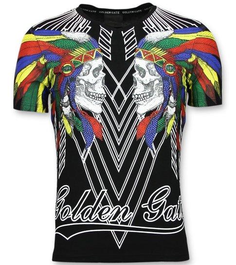 Golden Gate T shirts Kopen Mannen - Glitter Shirt - Zwart
