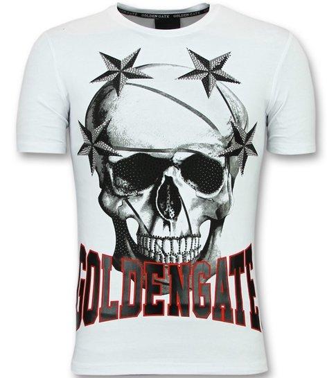 Golden Gate T shirts voor Mannen - Glitter Shirt - Wit