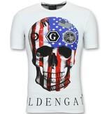 Golden Gate T shirt Amerikaanse Vlag - Glitter t shirt Heren - Wit