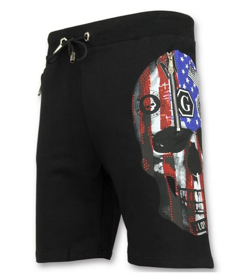 Golden Gate Amerikaanse Vlag Korte Broek - Shorts Heren - Zwart
