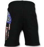 ENOS Amerikaanse Vlag Korte Broek - Shorts Heren - Zwart