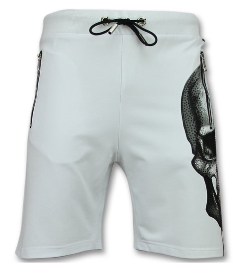 ENOS Doodskop Korte Broek  - Shorts Mannen - Wit