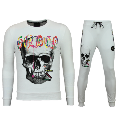 ENOS Skinny Trainingspak Heren - Joggingpak Heren Goedkoop - Color Skull - Wit