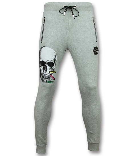 ENOS Goedkope Trainingspakken Heren - Slim fit Mannen Joggingpak - Color Skull - Grijs