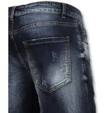 Enos Spijkerbroek Kort Heren - Driekwart Broek Mannen - J975 - Blauw
