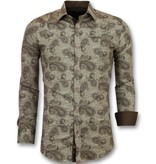 TONY BACKER Italiaanse Blouse Mannen - Slim Fit Overhemd Heren - 3001 - Bruin