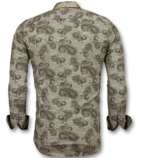 Gentile Bellini Italiaanse Blouse Mannen - Slim Fit Overhemd Heren - 3001 - Bruin
