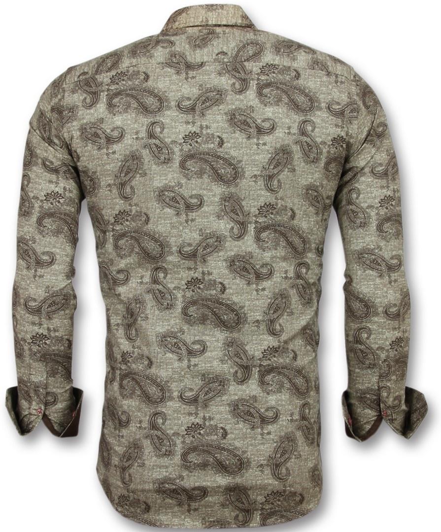 Bruin Overhemd Heren.Italiaanse Blouse Mannen Slim Fit Overhemd Heren Styleitaly Nl