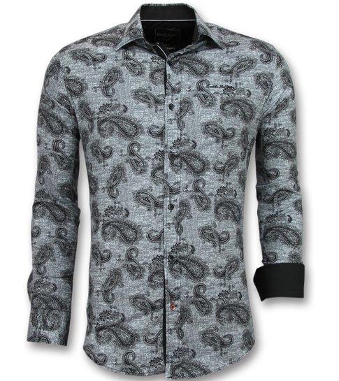 Gentile Bellini Italiaanse Blouse Mannen - Overhemd met print in Kraag - 3002 - Zwart