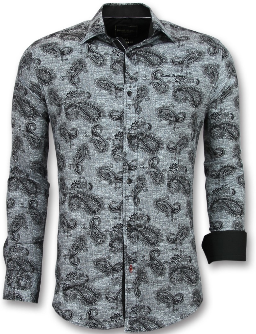 Mannen Blouse Of Overhemd.Italiaanse Blouse Mannen Overhemd Met Print In Kraag Styleitaly Nl