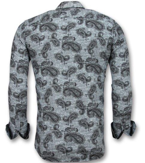 TONY BACKER Italiaanse Blouse Mannen - Overhemd met print in Kraag - 3002 - Zwart