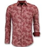 Gentile Bellini Heren Overhemd Bloemenprint - Slim Fit Blouse Mannen - 3003 - Rood