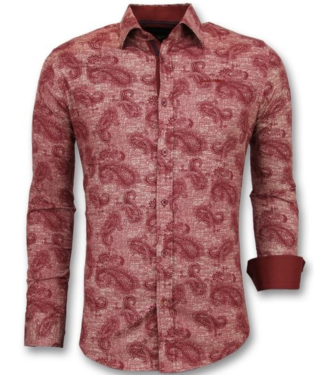 TONY BACKER Heren Overhemd Bloemenprint - Slim Fit Blouse Mannen - 3003 - Rood