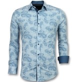 TONY BACKER Slim Fit Overhemd Mannen - Bloemen Blouse Heren- 3004 - Turquoise