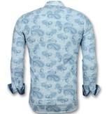 Gentile Bellini Slim Fit Overhemd Mannen - Bloemen Blouse Heren- 3004 - Turquoise