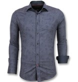 Gentile Bellini Bloemen Blouse Mannen - Italiaanse Overhemden Heren - 3005 - Blauw