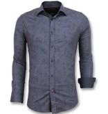 TONY BACKER Bloemen Blouse Mannen - Italiaanse Overhemden Heren - 3005 - Blauw