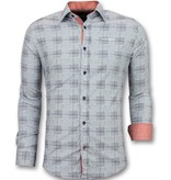 Gentile Bellini Heren Overhemden Lange Mouw - Italiaanse Blouse Mannen - 3006 - Blauw