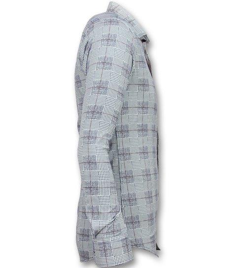 TONY BACKER Heren Overhemden Lange Mouw - Italiaanse Blouse Mannen - 3006 - Blauw