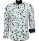 TONY BACKER Heren Overhemden Regular Fit - Bloemen Blouse Mannen - 3007 - Wit