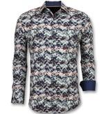 TONY BACKER Bijzondere Heren Overhemden - Luxe Italiaanse Blouse - 3008 - Blauw