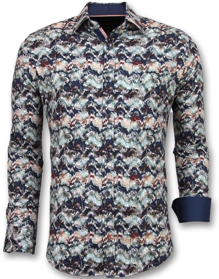 ac9f2e94dd573a Gentile Bellini Bijzondere Heren Overhemden - Luxe Italiaanse Blouse - 3008  - Blauw ...