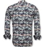 Gentile Bellini Bijzondere Heren Overhemden - Luxe Italiaanse Blouse - 3008 - Blauw