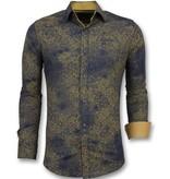 Gentile Bellini Goedkope Italiaanse Overhemden - Slim Fit Blouse Mannen - 3009 - Blauw