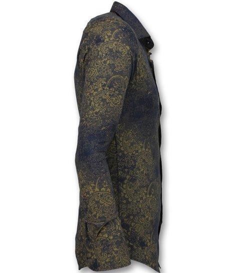 TONY BACKER Goedkope Italiaanse Overhemden - Slim Fit Blouse Mannen - 3009 - Blauw