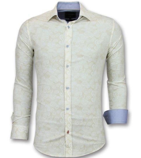 TONY BACKER Heren Overhemden Italiaans - Blouse Met Print - 3010- Beige