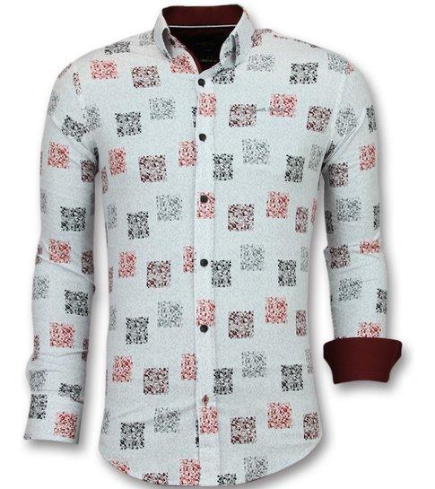 TONY BACKER Getailleerde Overhemden Mannen - Bloemen Blouse Heren - 3012 - Wit