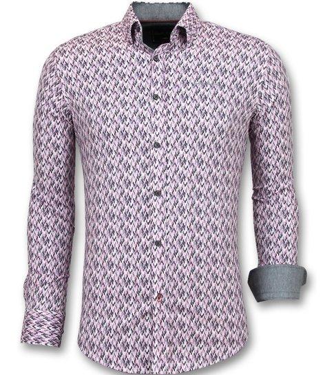 Gentile Bellini Slim Fit Stretch Overhemd - Heren Blouse Print - 3013 - Roze