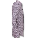 TONY BACKER Slim Fit Stretch Overhemd - Heren Blouse Print - 3013 - Roze