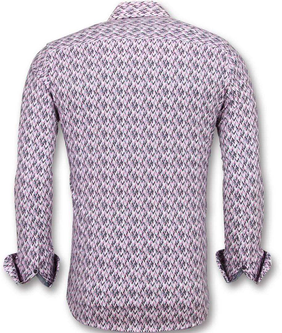 Heren Overhemd Roze.Slim Fit Stretch Overhemd Heren Blouse Print Styleitaly Nl