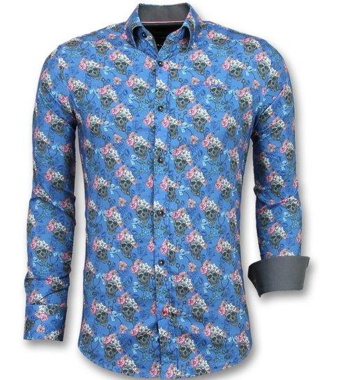 TONY BACKER Luxe Italiaanse Overhemden - Bloemen Blouse Mannen - 3014 - Blauw