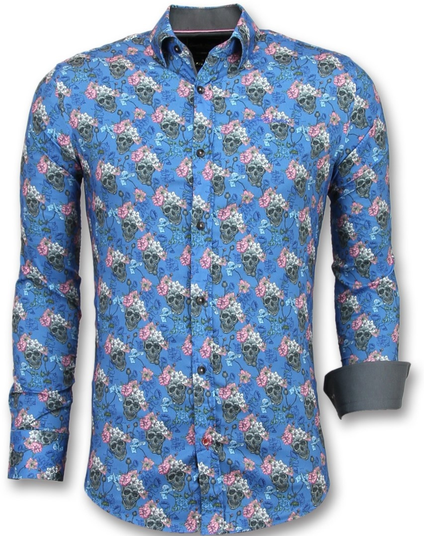 7d369f58157715 Gentile Bellini Luxe Italiaanse Overhemden - Bloemen Blouse Mannen - 3014 -  Blauw ...