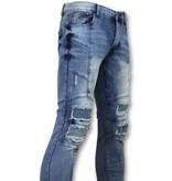 New Stone Skinny biker jeans heren - Stoere jeans mannen - ZS1058 - Blauw