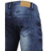 New Stone Strakke heren jeans  - Goedkope Biker jeans mannen - 3009 - Blauw