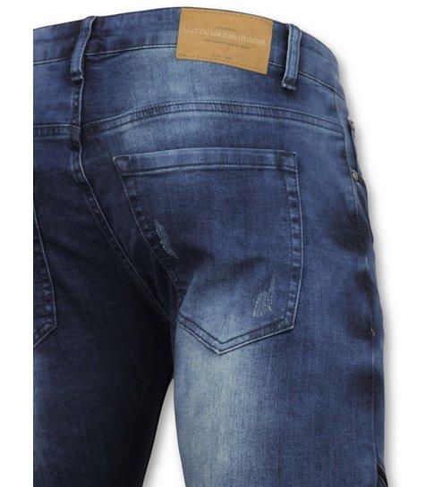 TRUE RISE Strakke heren jeans  - Goedkope Biker jeans mannen - 3009 - Blauw